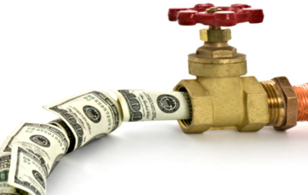 Pipe and Valve Gushing Hundred Dollar Bills - Iso