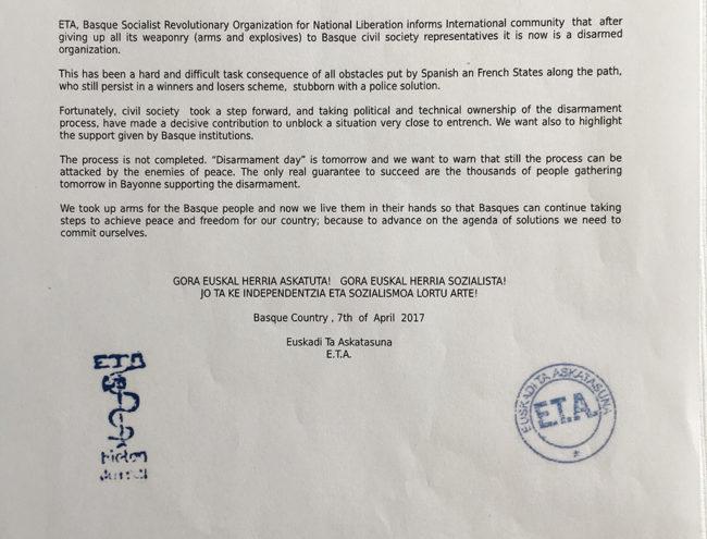 comunicato ETA disarmo 8 aprile 2017