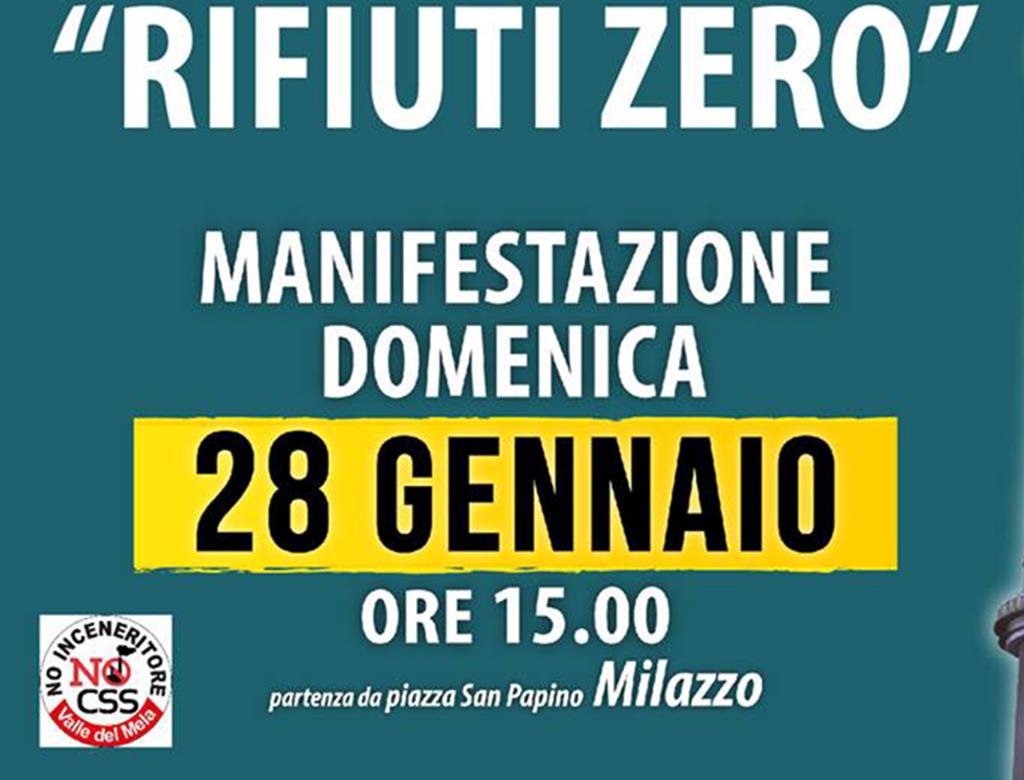 No all'inceneritore nella Valle del Mela. Manifestazione a Milazzo 28 gennaio.