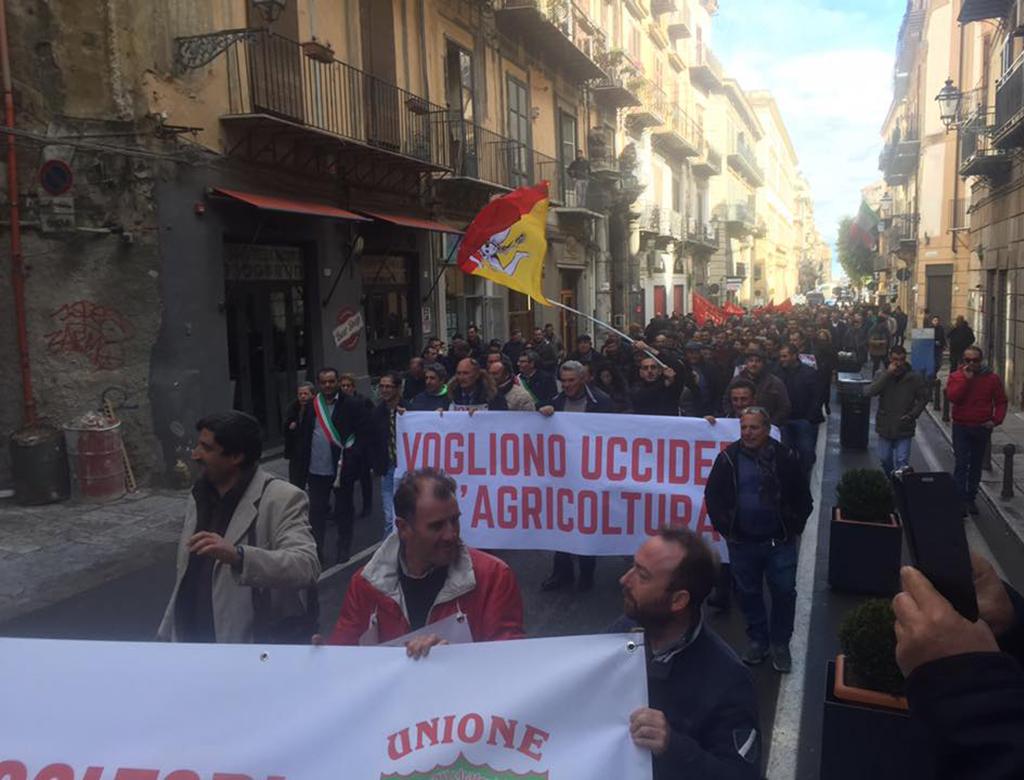 In centinaia a Palermo per difendere l'agricoltura Siciliana.