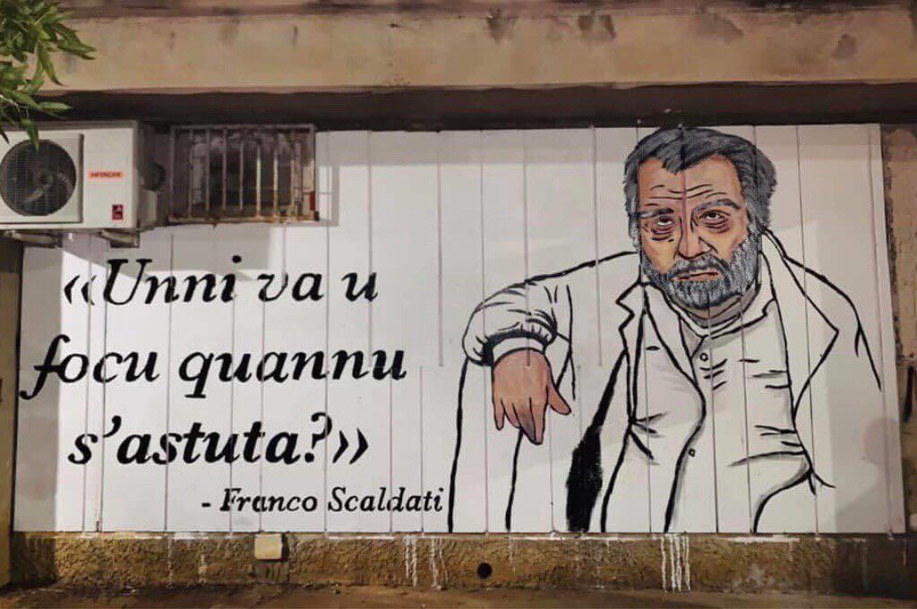 Scaldati: trasferito il suo archivio. A Palermo un murale di protesta